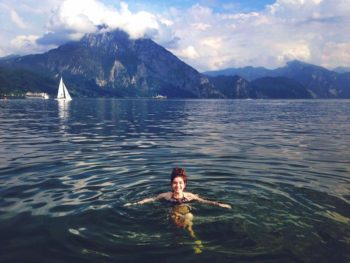 Me swimming in the Traunsee with the Traunstein in the background